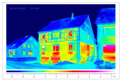 Thermografische Abbildung eines Einfamilienhauses